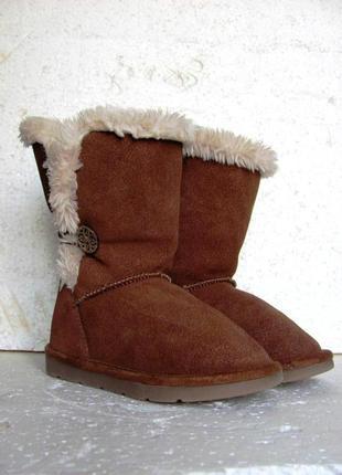 Next стильные сапоги угги натуральная замша зимние деми р.25 15,5 см