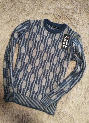 Теплый полушерстяной джемпер свитер шерсть