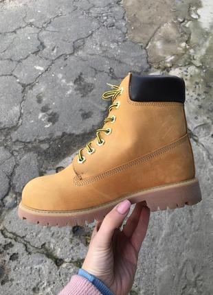 Зимние рыжие ботинки тимберленд натуральный мех и кожа 36-45р