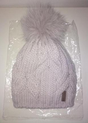 Новая вязаная шапка с натуральным мехом