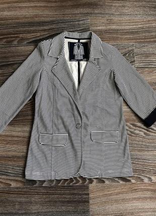 Сине-белый (тельняшка) полосатый хлопковый классический пиджак жакет блейзер от denim co