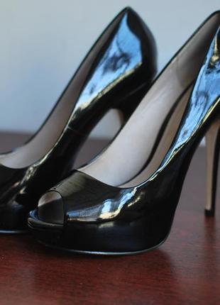 Туфли босоножки aldo черные на шпильке каблуке лаковые