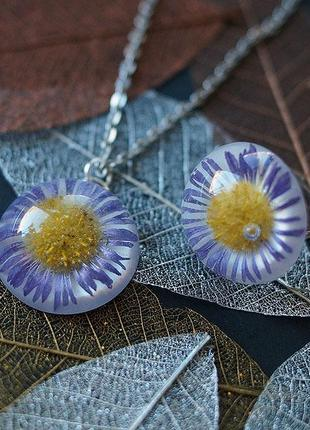 Комплект украшений: кулон+кольцо с фиолетовыми цветами