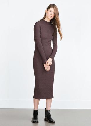 Платье макси миди в рубчик zara