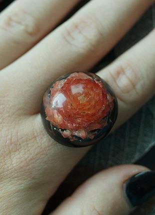 Кольцо с цветком гомфрены на чёрном фоне