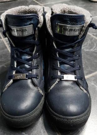 Зимние кожаные ботинки, внутри натуральный мех.