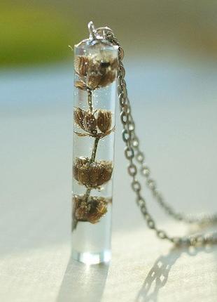 Кулон-кристалл с настоящей  лавандой \ ручная работа