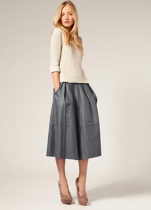 Кожаная 100% натуральная длинная юбка с карманами пышная расклешённая длины миди