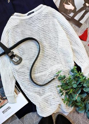 Белоснежный джемпер крупной вязки с люрексовой нитью amisu нежный пуловер