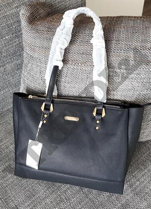 #3929 black david jones женская стильная сумка шоппер, мега вместительная!