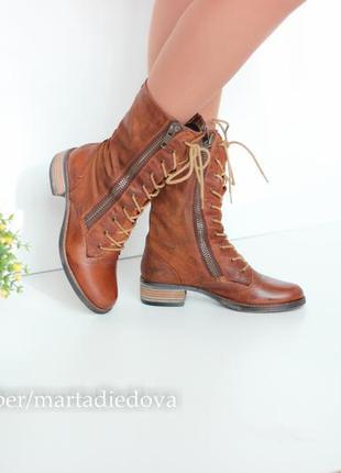 Кожаные ботинки полусапожки берцы, натуральная кожа