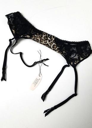 Victoria's secret пояс для чулок викториас сикрет леопард черное кружево