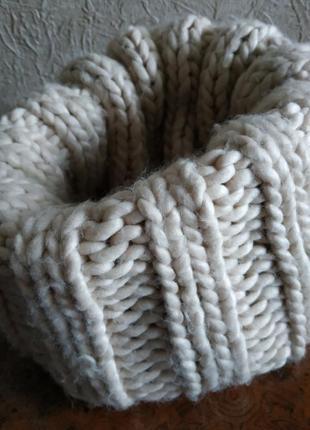 Снуд, бафф крупной вязки шарф из шерсти мериноса