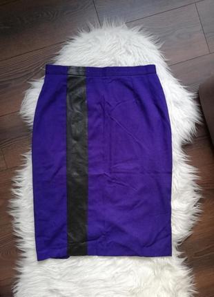 Акция !1+1=3  юбка карандаш фиолетовая со вставкой