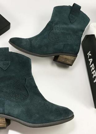 Clarks сапоги женские зелёные хаки на низком каблуке замшевые 38 размер