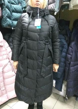 Зимнее длинное пальто пуховик mishele больших размеров 48 50 52 54 56 58 60 62