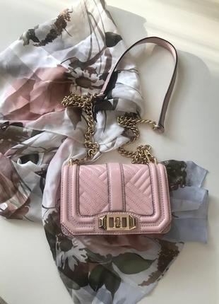 Элегантная розовый лаковый клатч, кожа, rebecca minkoff