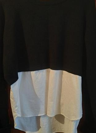 Свитер-обманка zara knit, свитер с рубашкой, оверсайз