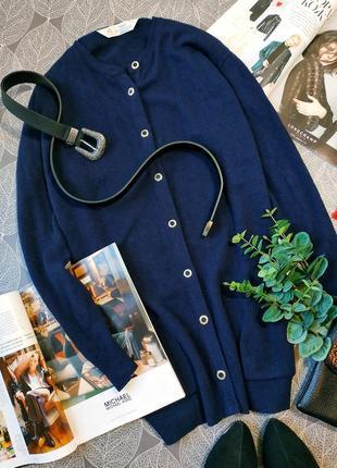 Удлиненный шерстяной кардиган на пуговицах marks&spenser 100% шерсть ламы