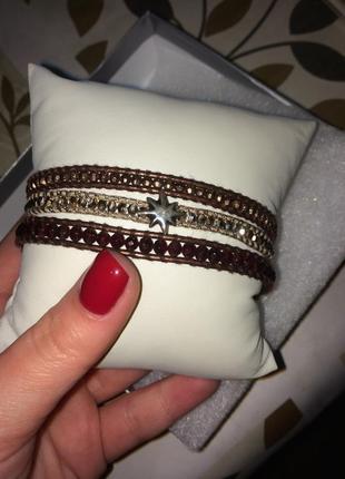 Оригінальний браслет фірми chan luu з натуральної шкіри та кристали  сваровски