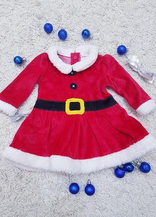 Детское платье в новогодний принт f&f 3-6 месяцев