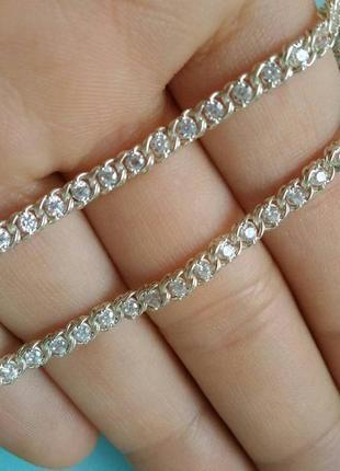 Срібна жіноча цепочка / ланцюг з камінцями цирконій / серебряная цепь