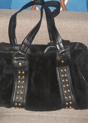Классная меховая сумка черная c73a9dc3312c1