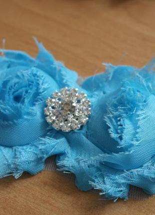 Повязка на голову цветок голубой