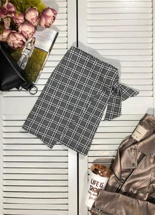 🌿 мини юбка в клетку с запахом от new look