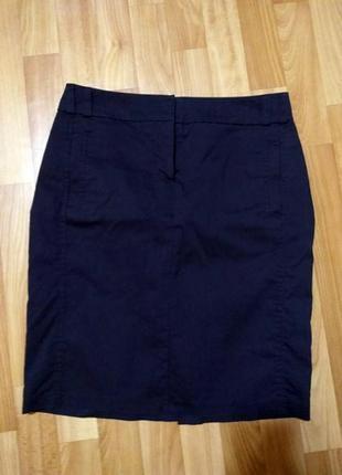 Темно-синяя классическая юбка для офиса ostin