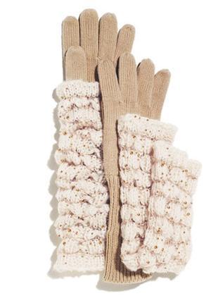 Митенки вязаные (высокие перчатки) mark к пальто с рукавом 3/4 (2в1)