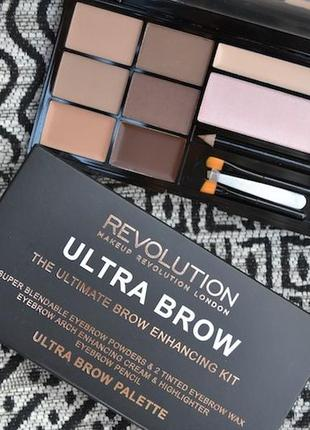 Набор теней, геля, хайлайтера, консилера для бровей makeup revolution ultra brow