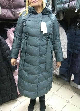 Зимнее длинное пальто пуховик mishele больших размеров 48 50 52 54