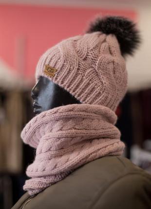 Теплая шапка косы от sewel