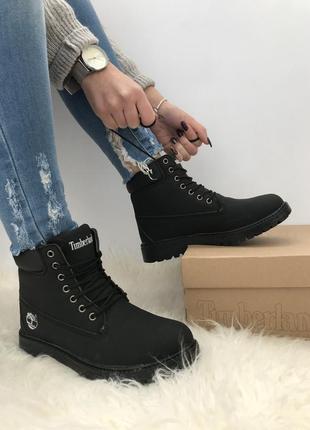 Timberland boots black черные новые на меху зимние 36-41