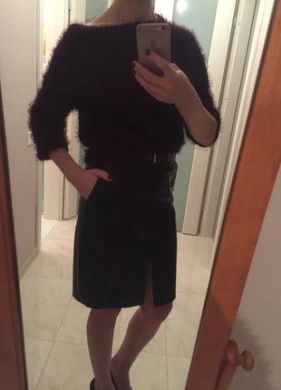 Кожаная юбка карандаш, блузка, кофта,свитер,пушистая,травка можно на новый год