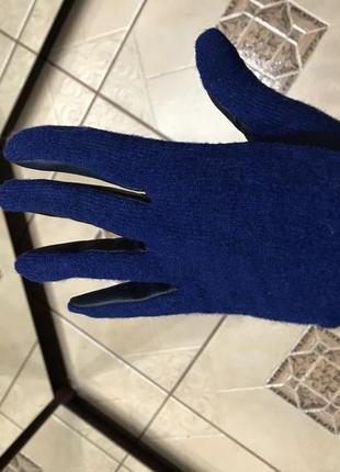 Перчатки синие кожзам ткань zara