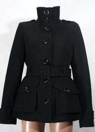 Короткое пальто с поясом h&m 60% шерсть