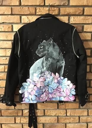 Пальто,куртка,оверсайз удлинённая с росписью,ручная работа oversize