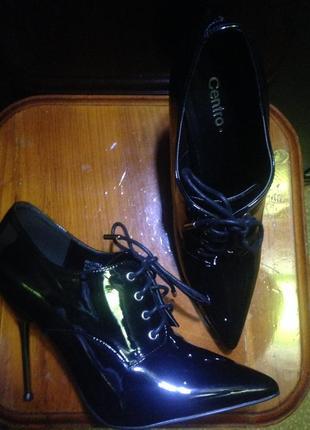 Эффектные чёрные лаковые ботиночки, шпилька металл, centro, 39,5р.