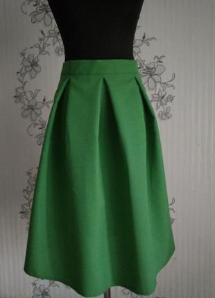 Новая зелёная юбка в складки, 16 цветов