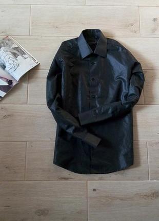 Черная мужская рубашка с напылением свободного кроя
