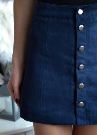 Замшевая юбка трапеция на пуговицах