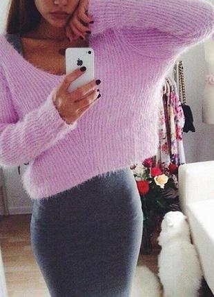 Укороченный пушистый свитер h&m