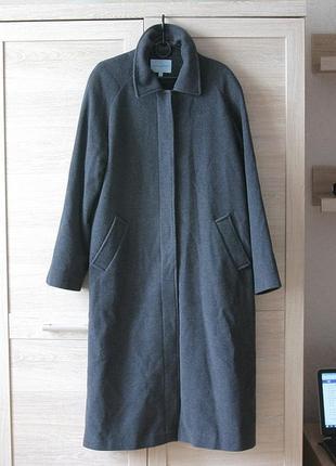 Пальто длинное шерстяное кашемировое размер 52 xl xxl серое трапеция демисезонное пог 114