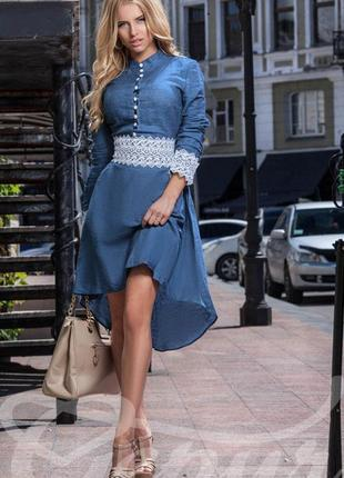 Платье под джинс с кружевом ассиметричное xs