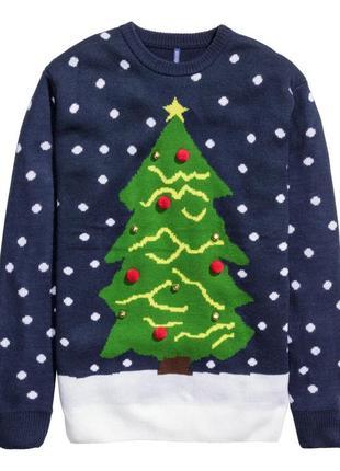Новогодний свитер с бубенцами m-l h&m джемпер пуловер