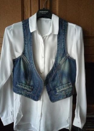 Коттоновая джинсовая жилетка benetton s-m