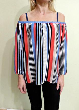 Актуальная блуза в полоску с открытыми плечами