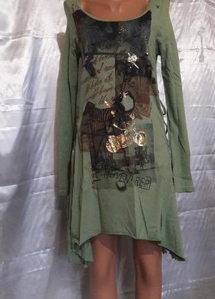 Платье-туника со шнурками по бокам
